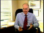 National stress awareness day Sir Alastair Morton interview SOT Better to cut down stress that is developing than cope with consequences / Talks of...