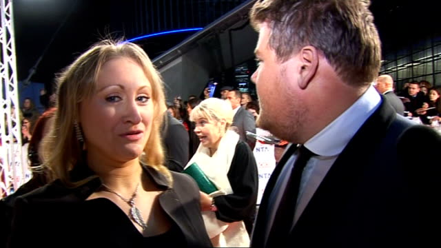 Celebrity red carpet arrivals and interviews James Corden interview SOT On his tan / How long he took to get ready and what he is wearing jokes he...