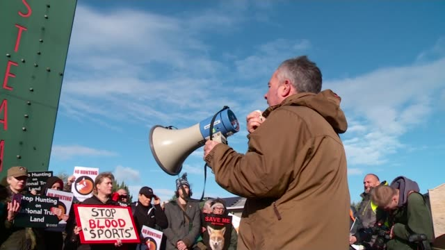 National Trust votes against fox hunting ban on its land Wiltshire Swindon Various shots antifox hunting protest Chris Luffingham interview SOT...