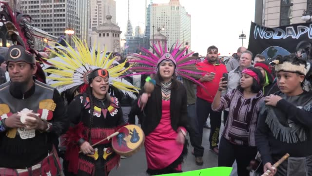 Native Americans and antiTrump protestors gather in front of the Trump Tower during a rally to protest the construction of the Dakota Access Pipeline...