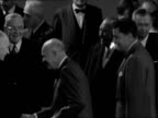 Paris Palais de Chaillot PHOTOGRAPHY** Various of delegates arriving / Dwight D Eisenhower and John Foster Dulles towards and past Eisenhower waves...