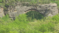 CU AERIAL ZO Natural Arch in Daniel Boones National Forest / Kentucky, United States