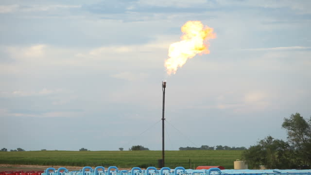 Natural Gas Flare Stack from Recently Fracked Oil Well
