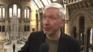 Natural History Museum dinosaur replaced by blue whale Natural History Museum INT Reporter to camera/ Richard Sabin interview SOT/ CUTAWAYS blue...