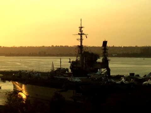 Navy Aircraft Carrier Deck at Sunset