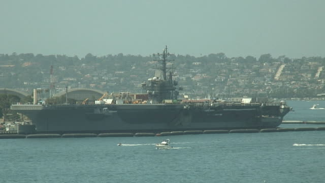 (HD1080i) Navy Aircraft Carrier Moored in San Diego