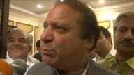 Nawaz Sharif addressed journalists as he declared victory for his centre right party in Pakistans landmark elections Saturday CLEAN Sharif talks of...