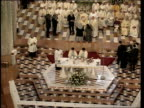 Nazareth INT Pope John Paul II blessing nun during service in church built on site where it is thought the Archangel Gabriel told Mary should would...