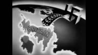 Nazi airplanes on airfield taking off / animation showing Nazi airplanes attacking Britain on map / Edward R Murrow speaking about Nazi attack on...