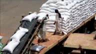 Nearly 50000 tonnes of US food aid bound for areas of Sudan affected by conflict arrived in the country on Tuesday the UN World Food Programme said