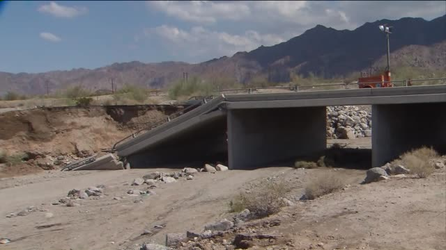 KTLA A nearly 50mile stretch of the 10 Freeway shut down due to a bridge collapse that occurred during a flash flood in the Mojave Desert
