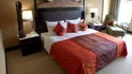 MS TU Neatly made bed at luxury hotel / Phnom Penh, Cambodia