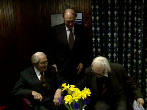 Neil Kinnock James Callaghan and Michael Foot at a reception marking 100 years since the founding of the Labour Party London 2000