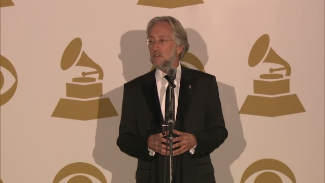 SPEECH Neil Portnow on the dress codes at The 55th Annual GRAMMY Awards Press Room 2/10/2013 in Los Angeles CA