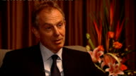 Tony Blair interview CHINA Beijing INT Tony Blair interview SOT Speaks about his admiration for Nelson Mandela / he is an immensely shrewd politician...