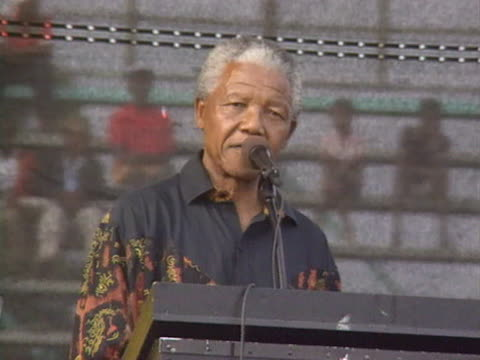 Nelson Mandela accuses President De Klerk of conniving in township violence during a speech at an ANC rally
