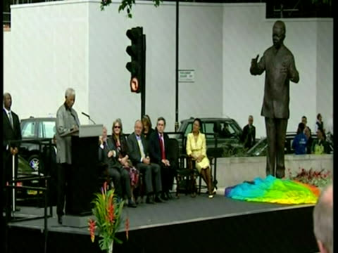 Nelson Mandela making speech at the unveiling of his statue Parliament Square London Sky News Nelson Mandela Footage at Parliament Square on August...