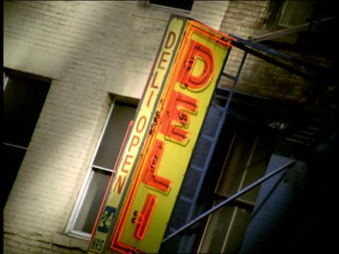 Neon lights illuminate a delicatessen sign.