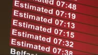 Net UK migration falls to lowest level in three years R02011406 / Luton Airport INT Close Shot of arrivals board 'Vilnius' 'Sofia' 'Gdansk' Arrivals...