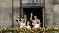 Netherlands, Amsterdam, 30 April 2013, Abdication of Queen Beatrix and investiture of King Willem-Alexander, Royal family on balcony of Royal Palace on Dam Square