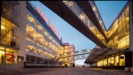 Netherlands, Rotterdam, Van Nelle Factory constructed in 1930, Unesco World Heritage site. Now office and event location. Twilight