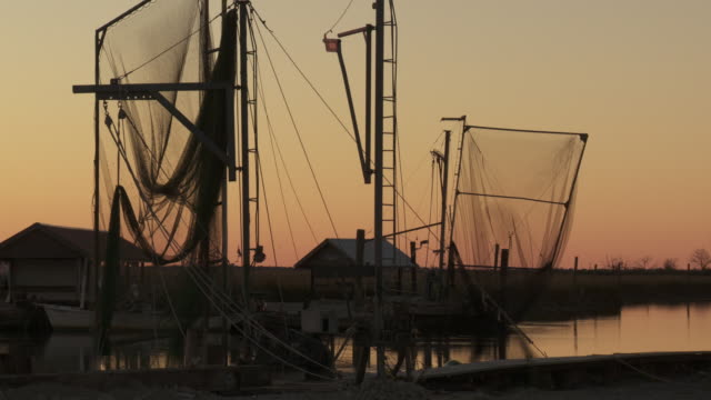 Nets hang from masts above a seafood bar.