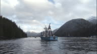 Nets surround fishing boats near Sitka, Alaska. Available in HD.