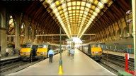 Network Rail sets out proposal for highspeed rail link between London and Scotland London King's Cross INT Train station platforms trains and...