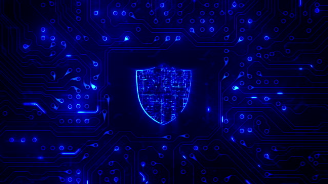 Network security. Shield with circuit board. Loopable. Firewall. Technology. Zoom.