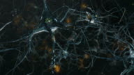 Neuron cells, synapse. Cold colors. Network connections. Brain.