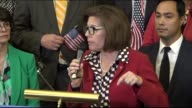Nevada Senator Catherine Cortez Masto addresses dreamers at a gathering of congressional Democrats a day after the Trump administration announced a...