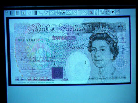 London Bank of England Museum Bartholomew Lane CS Large poster of new 50 pound note PULL OUT held by man Hyway Printing Services CS Twenty pound note...