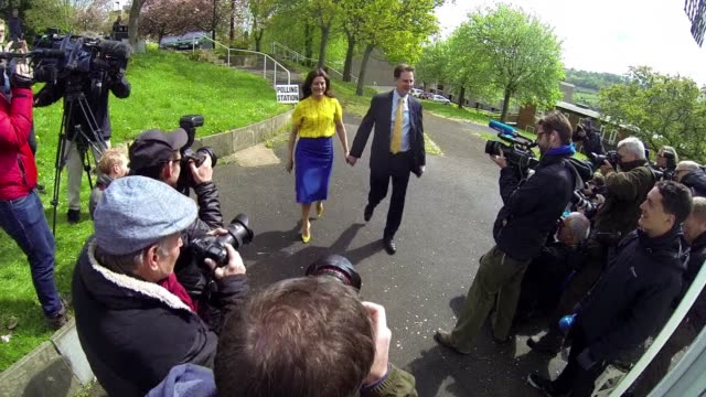 A new angle on todays news this unconventional footage speeds up the press pack as they lie in wait for Deputy Prime Minister Nick Clegg at a polling...