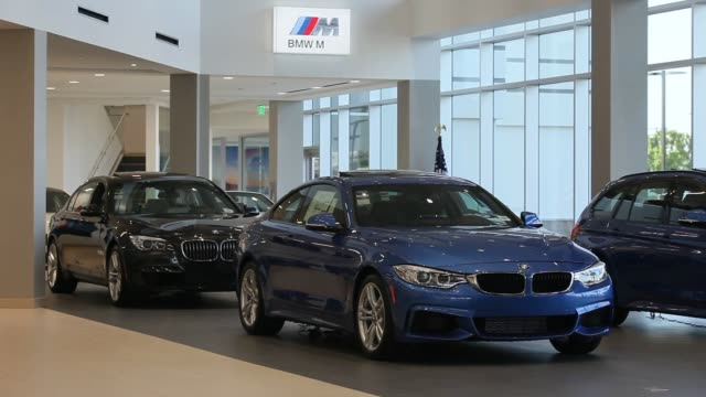 New Bayerische Motoren Werke AG cars are displayed for sale at the Crevier BMW dealership in Santa Ana California US Overhead shots of the BMW...