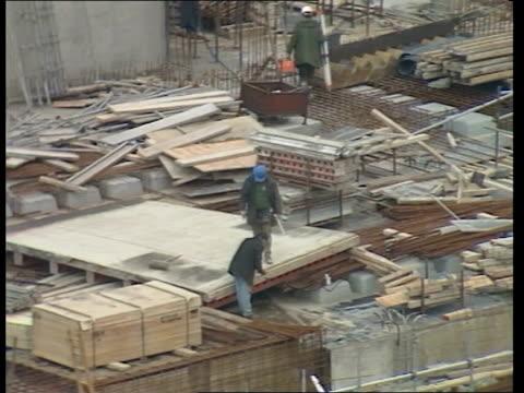 New British Library St Pancras St Pancras station GV and new British Library under construction excavation in progress bulldozers at work