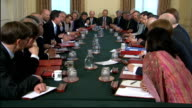 First Cabinet meeting general views ENGLAND London Downing Street INT General views of David Cameron MP addressing members of the Cabinet at...