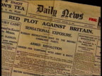 New evidence ITN ENGLAND London Foreign Office EXT i/c TCMS copy of the 'Daily News' newspaper from 1924 with headline 'Red Plot Against Britain' TMS...