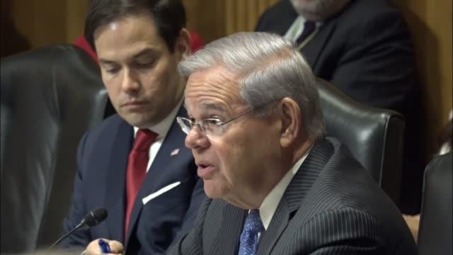 New Jersey Senator Bob Menendez engages Organization of American States Secretary General Luis Almagro at a hearing on political unrest in Venezuela...