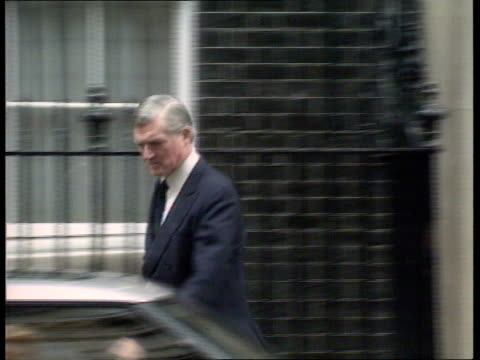 Further announcement ENGLAND London Downing Street No 10 MS Cecil Parkinson MP walking out of No 10 and gets into car