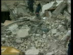 New pictures of Saddam Hussein broadcast LIB Baghdad Destroyed buildings after US air raid that targetted Saddam Hussein