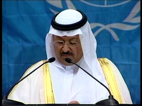 POOL Interim government ZOOM IN new Iraqi President Ghazi alYawer New Iraqi President Ghazi alYawer along to speak at podium Ghazi AlYawar speech SOT...
