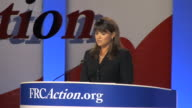 MS New Republican Senate candidate Christine O'Donnell giving speech on stage at Values Voters Summit Audio / Washington DC United States