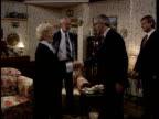 PM John Major MP on set of 'Emmerdale' as chats to members of cast and watching dancers in pub scene C4N