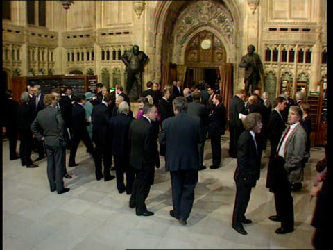 MPs in Central Lobby including Tory MP for Harlow Jerry Hayes who is the subject of allegations of a homosexual affair