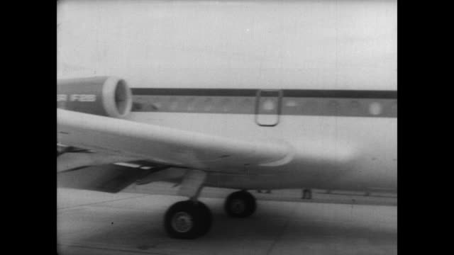 A new turbojet passengertransport manufactured together by Germany Holland and England goes on display in Bremen Germany / Turbo jet Fokker F28...