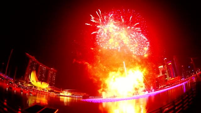 Capodanno Fuochi d'artificio a Singapore