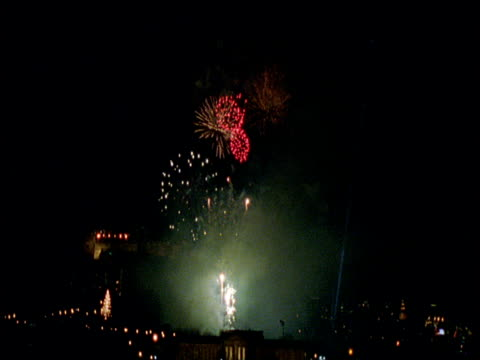 New Years Eve fireworks display in front of Edinburgh castle
