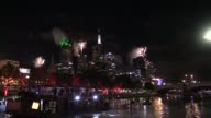 New Year's fireworks shows around of the Yarra river and Melbourne at midnight in Melbourne Australia on January 01 2017