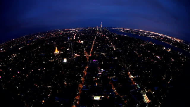 New York City amazing skyline at night - aerial view