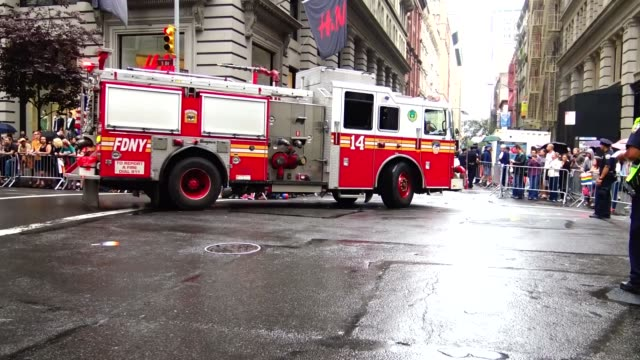 New York City Fire Department Fire Truck exits the Annual New York City Gay Pride Parade / The parade celebrates the Supreme Court decision to...